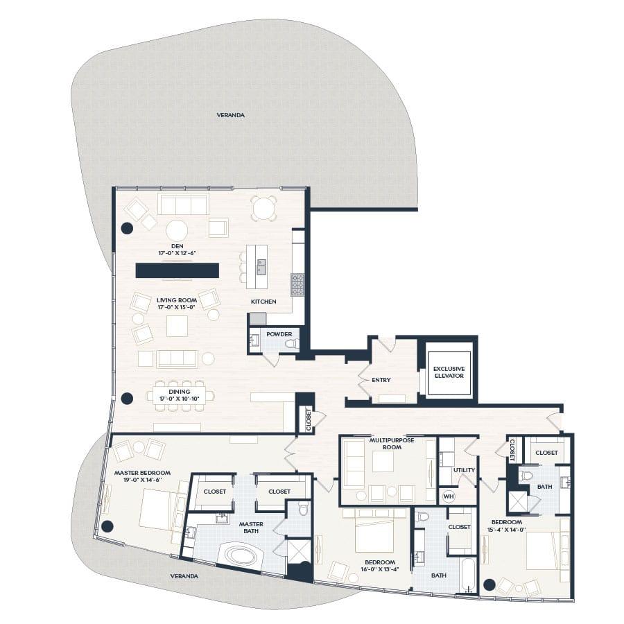 Penthouse 1 PH1 Floor Plan