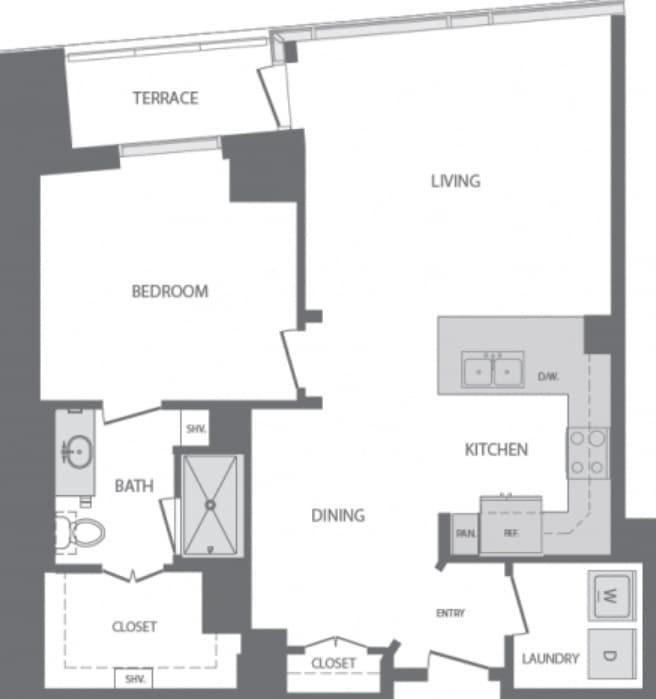 956 Sq Ft 1 Bedroom 1 Bath